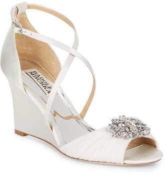 Badgley Mischka Women's Tacey Embellished Satin Wedge Heel Sandals