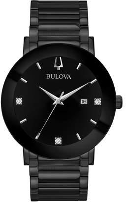 Bulova Men's Black Stainless Bracelet Diamond Accent Watch