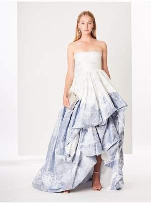 Oscar de la Renta Toile Du Jouy Silk-Chine Gown
