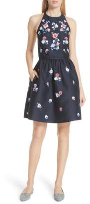 Kate Spade Pom Pom Embrroidered Fit & Flare Dress