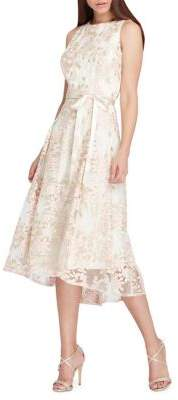 Tahari Arthur S. Levine Embroidered Floral Ribbon Dress