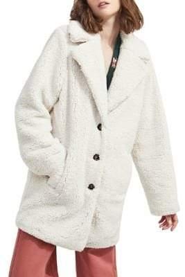 Miss Selfridge Notch Lapel Faux Fur Teddy Coat