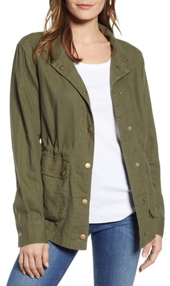 Caslon Cinch Waist Linen Blend Utility Jacket