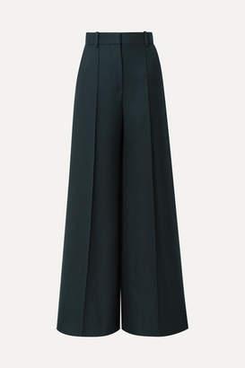 The Row Isla Wool-twill Wide-leg Pants - Dark green