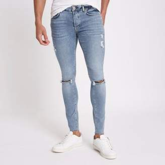 River Island Mid blue Danny super skinny ripped jeans