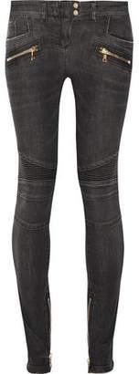 Balmain Moto-Style Distressed Low-Rise Skinny Jeans