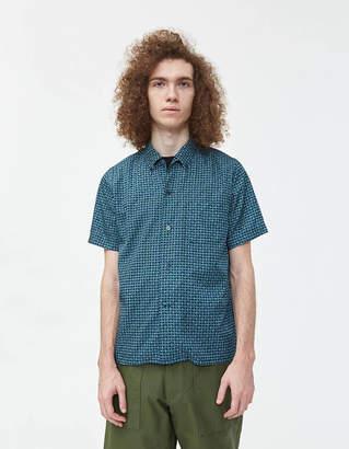 Beams Short Sleeve B.D. Geometric Print Shirt in Blue