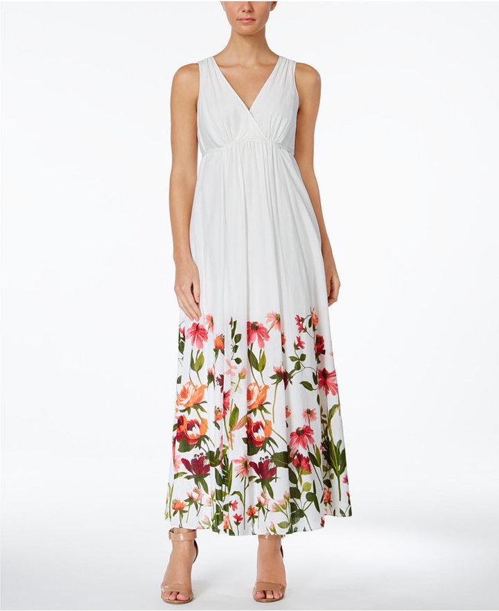 Calvin Klein Cotton Floral-Border Surplice Maxi Dress