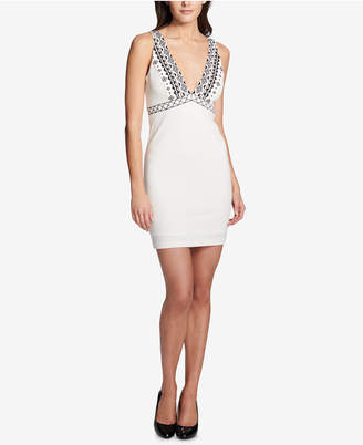 GUESS Deep-v Embroidered Bodycon Dress