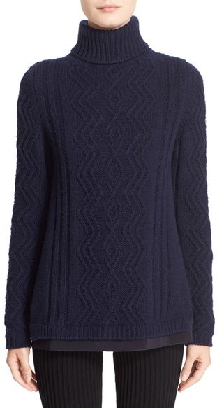 MonclerWomen's Moncler Braid Knit Wool & Cashmere Turtleneck Sweater