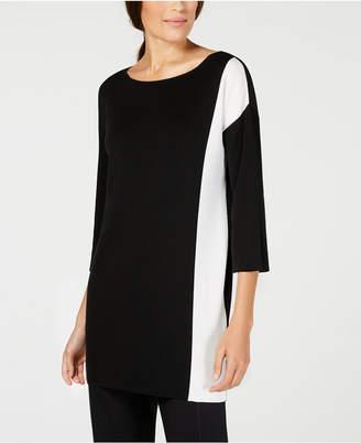 Eileen Fisher Tencel® Colorblocked Boat-Neck Sweater, Regular & Petite