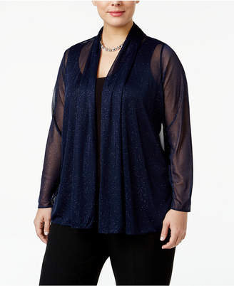 MSK Plus Size Metallic Chiffon Jacket $49 thestylecure.com