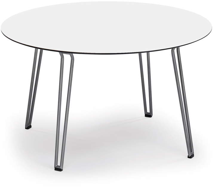 Weishäupl - Slope Tisch Rund, Gestell Edelstahl / HPL Weiß