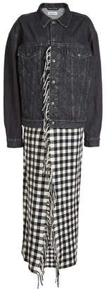 Balenciaga Fringed Blanket Denim Jacket with Virgin Wool