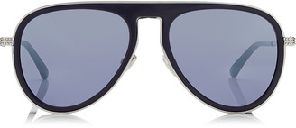 Jimmy Choo CARL Blue Aviator Sunglasses with Light Grey Mirror Lenses