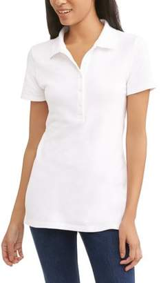 5a3dc016724 Time and Tru Women s Essential Short Sleeve Polo T-Shirt