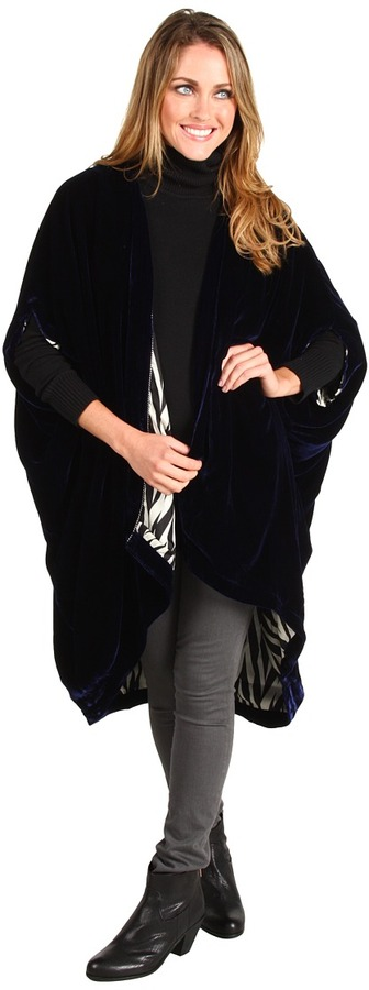 Winter Kate Velvet with Contrast Lining Poncho (Navy) - Apparel