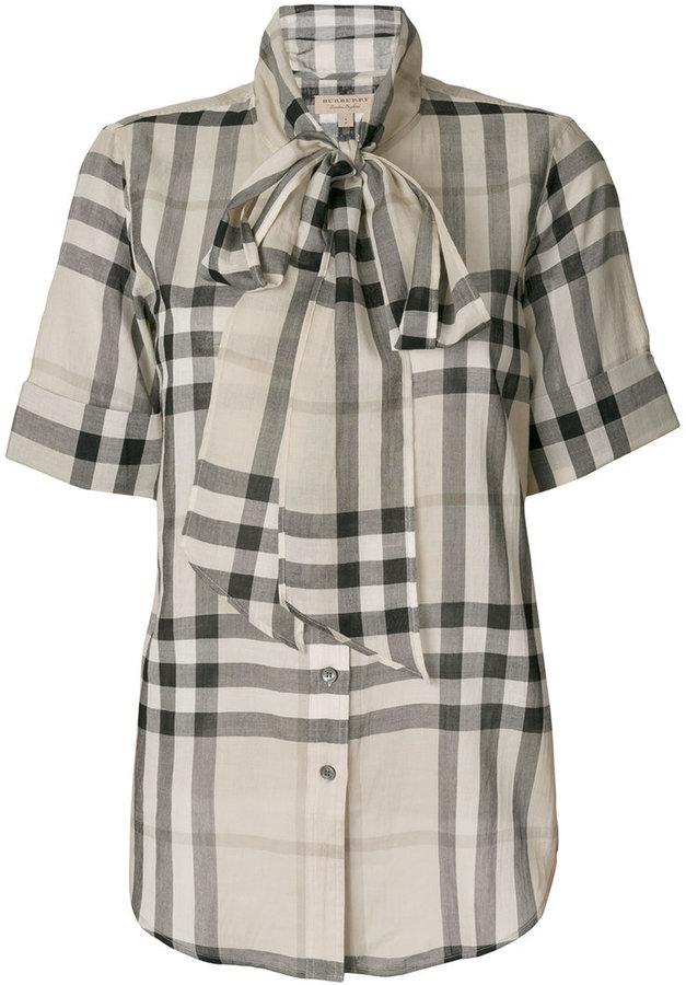 Burberry tie neck check blouse