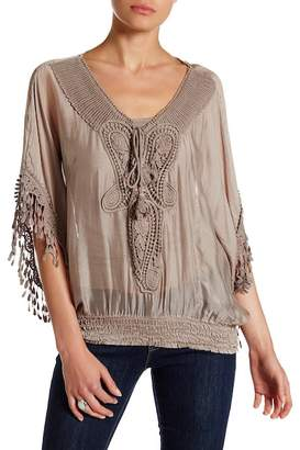 Tempo Paris Embroidered Crochet Lace Knit Silk Blouse