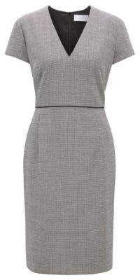BOSS Hugo V-neck business dress in micro-pattern fabric 4 Patterned