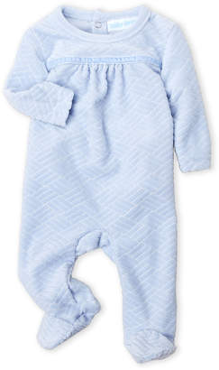 Baby Dove (Newborn Boys) Cable Knit Pattern Velour Footie