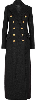 Balmain - Double-breasted Mohair-blend Bouclé Coat - Black $4,920 thestylecure.com