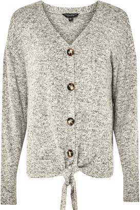 Dorothy Perkins Womens Grey Brushed Tie Front Top