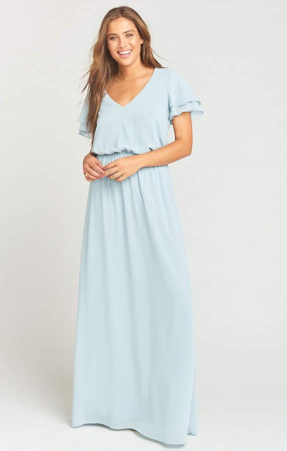 Show Me Your Mumu Michelle Maxi Dress ~ Steel Blue Chiffon