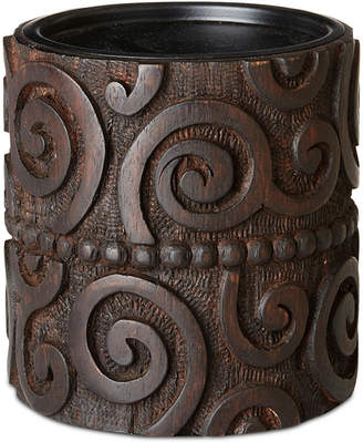 Jla Home Ink & Ivy Pacheco Carved Wood & Iron Small Candle Holder