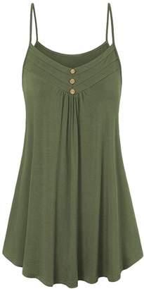 FEITONG Women Summer Loose Button V Neck Cami Tank Tops Vest Blouse(XXXX-Large,)