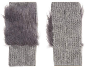 Karl Donoghue Shearling-trimmed Ribbed Cashmere Fingerless Gloves - Gray