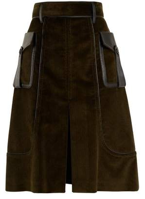 Prada - Slit Front Leather Trimmed Cotton Corduroy Skirt - Womens - Dark Green