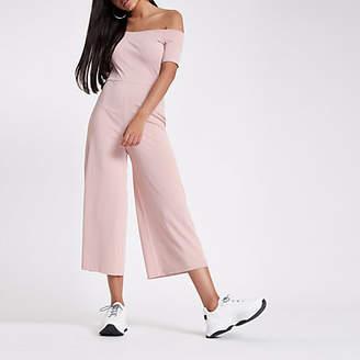River Island Pink bardot wide leg jumpsuit