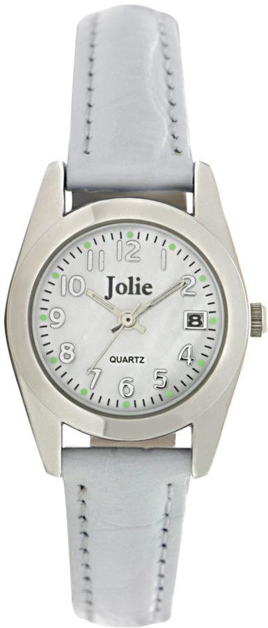 Jolie Ladies' Silvertone & White Leather Watch