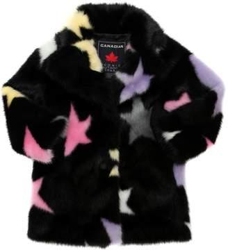 Canadian Stars Print Faux Fur Coat