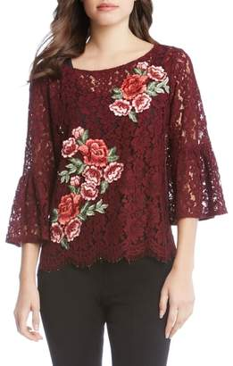 Karen Kane Lace Embellished Bell Sleeve Top