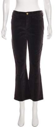 Frame Mid-Rise Flared Velvet Pants