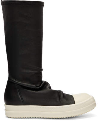 Rick Owens Black Glitter Stocking Boots