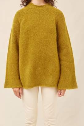 Mansur Gavriel Alpaca Wool Flared Sleeve Funnel Neck - Olive