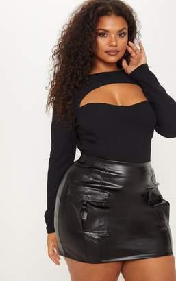 PrettyLittleThing Plus Black Faux Leather Cargo Pocket Front Mini Skirt