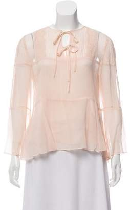 The Kooples Silk & Lace Long Sleeve Top w/ Tags