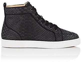 Christian Louboutin Men's Rantus Flat Python Sneakers - Black