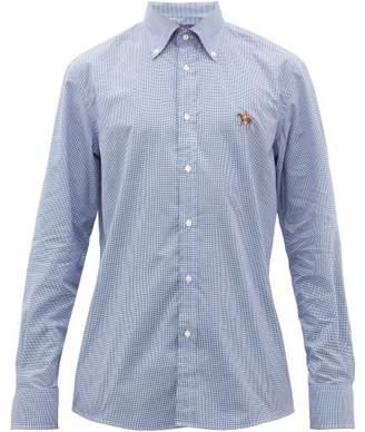 Ralph Lauren Purple Label Logo Embroidered Gingham Cotton Shirt - Mens - Blue White
