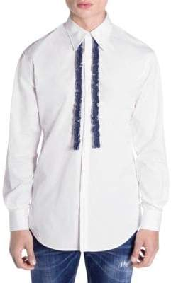 DSQUARED2 Denim-Ruffle Button-Down Shirt