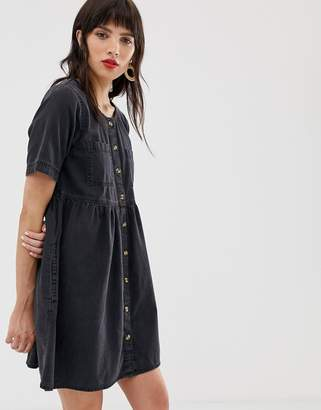 db48a29534c Asos Design DESIGN denim button smock dress with pockets in washed black