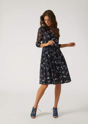 Emporio Armani Dress In Printed Silk Crepe