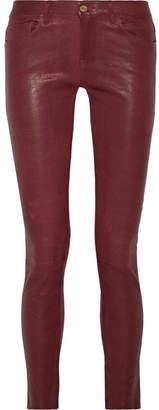 Frame Le Skinny Leather Pants - Burgundy