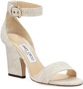 Jimmy Choo Edina Linen Ankle-Strap Sandals
