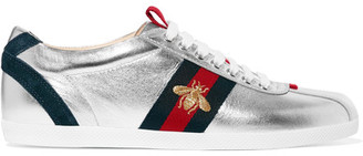 Gucci - Suede-trimmed Metallic Leather Sneakers - Silver $595 thestylecure.com