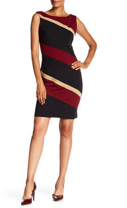 Connected Apparel Striped Sheath Mid Length Dress